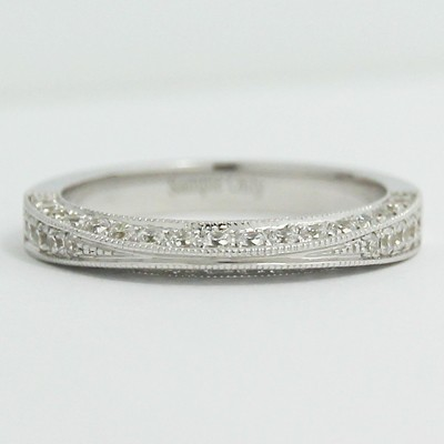 3.0mm Knife Edge Pave Set Wedding Band 14k White Gold