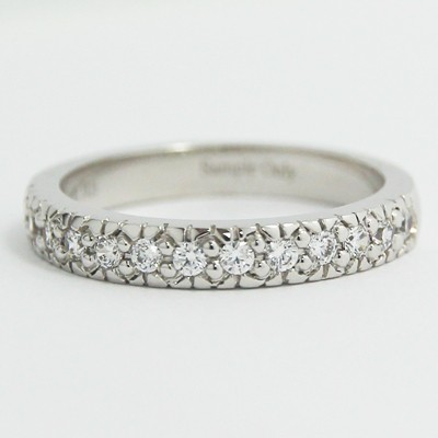 3.0mm Vintage Style Diamond Wedding Band 14k White Gold