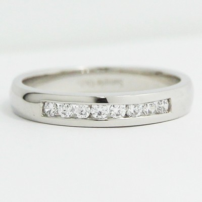 3.15mm Channel Set Euro Band 14k White Gold