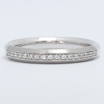 3.1mm Channel Set Brushed Diamond Wedding Band 14k White Gold