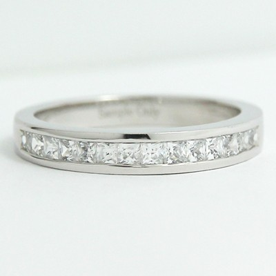 3.1mm Channel Set Princess Cut Diamond Band 14k White Gold