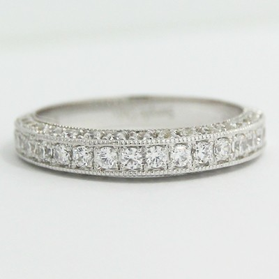 3.1mm Half Eternity Three Side Diamond Band 14k White Gold