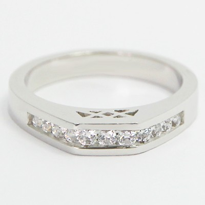 3.3mm Channel Set Designed Wedding Band 14k White Gold