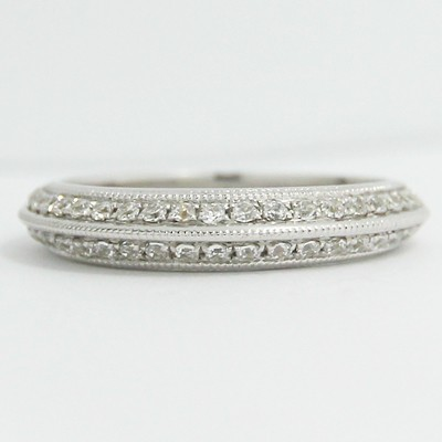 3.3mm Knife Edge Pave Set Milgrain Band 14k White Gold
