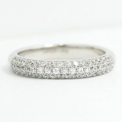 3.3mm Three Roll Diamonds Channel Wedding Band 14k White Gold