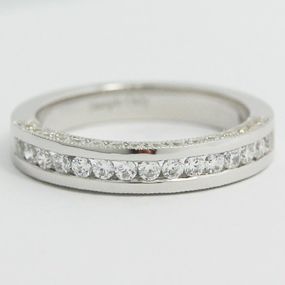 3.3mm Three Row Diamonds in Channel Band 14k White Gold