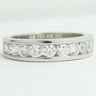 3.4-3.9mm Channel Set Diamond Wedding Band 14k White Gold