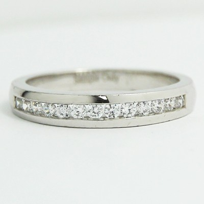 3.4mm Channel-Set Diamond Wedding Ring 14k White Gold