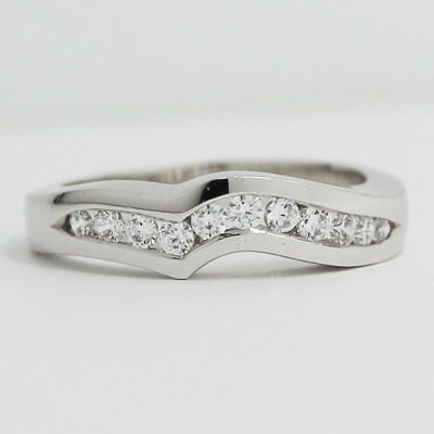 3.5-4.5mm Curved Channel Wedding Band 14k White Gold