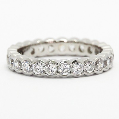 3.5mm Half Bezel Style Eternity Band 14k White Gold
