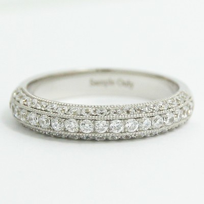 3.5mm Vintage 3 Row Pave Ring 14k White Gold