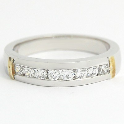 3.6-4.4mm Channel Set Wedding Band 14k White and Yellow Gold