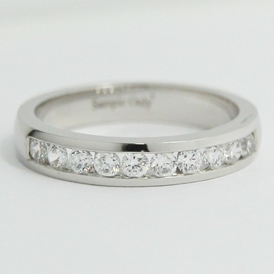 3.6mm Channel Set Wedding Band 14k White Gold