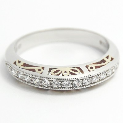 3.8mm Two Tone Filigree Design Band 14k White & Yellow Gold