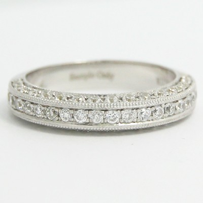 3.9mm Vintage Style Pave Diamond Band 14k White Gold
