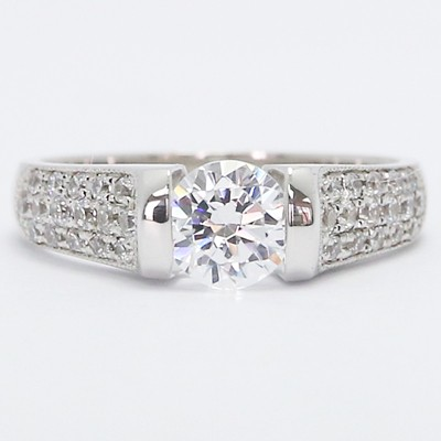 3 Row Pave Tension Style Engagement Ring 14k White Gold