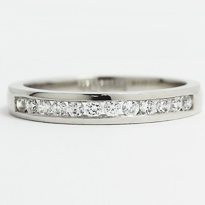 3mm Channel Set Wedding Band 14k White Gold