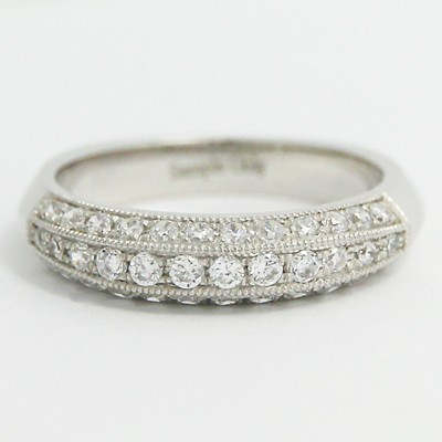 4.0mm Antique Style European Wedding Band 14k White Gold
