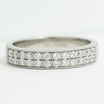 4.0mm Double Row Micro Pave Wedding Band 14k White Gold