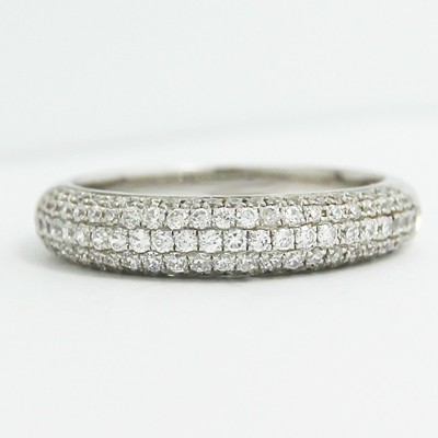 4.0mm Five Row Pave Diamond Wedding Band 14k White Gold