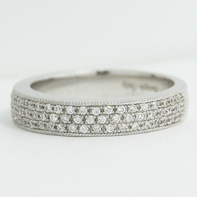 4.1mm 3 Row Micro Pave Diamond Band 14k White Gold