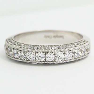 4.3mm Half Eternity Three Side Diamond Band 14k White Gold