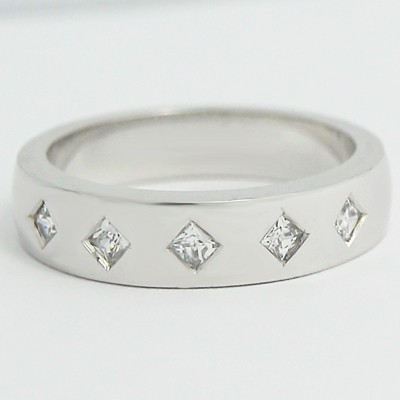 4.6-4.9mm Five Stone Bezel Set Wedding Ring 14k White Gold