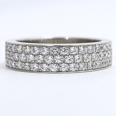 6mm Three Row Diamonds Eternity Style Wedding Band W90001