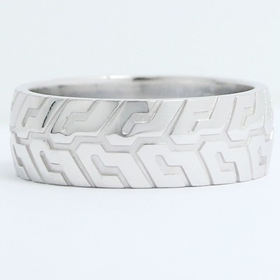 8mm Tire Tread Wedding Band 10k White Gold