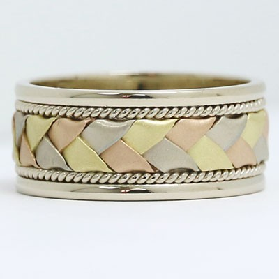 9mm Braided Style Wedding Band in 18k Gold