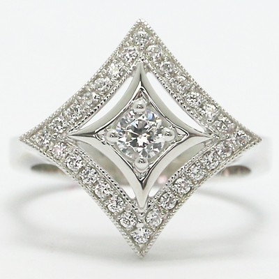 Antique Halo Designed Silver Ring