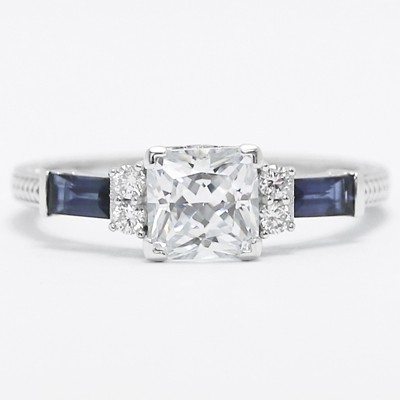 Blue Baguettes Vintage Design Engagement Ring 14k White Gold