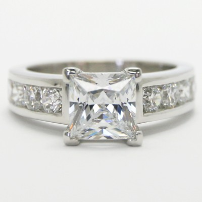 Cathedral Set Princess Cut Diamond Engagement Ring 14k White Gold