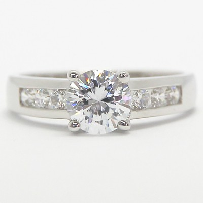 Channel Set Cathedral Diamond Engagement Ring 14k White Gold