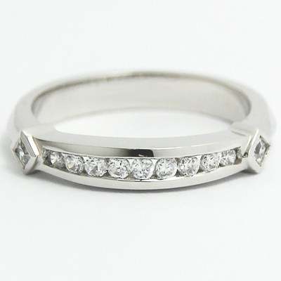 Channel Set Diamond Accent Band 14k White Gold