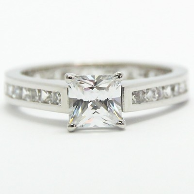 Channel Set Eternity Diamond Engagement Ring 14k White Gold