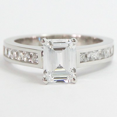 Channel Setting Emerald Cut Diamond Ring 14k White Gold