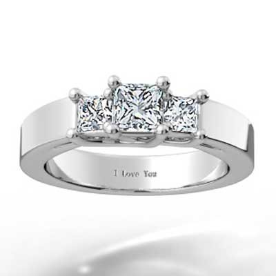 Home » Classic Princess Cut 3 Stone Engagement Ring 14k White