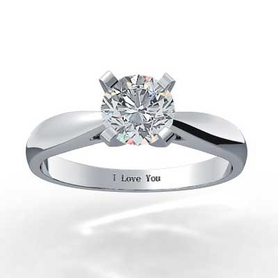 Classic Tapered Diamond Ring 14k White Gold