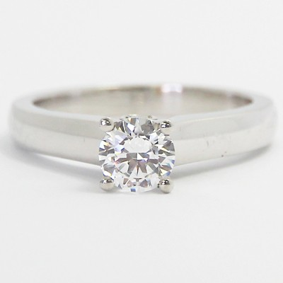 Comfort Fit Diamond Accented Solitaire Ring 14k White Gold