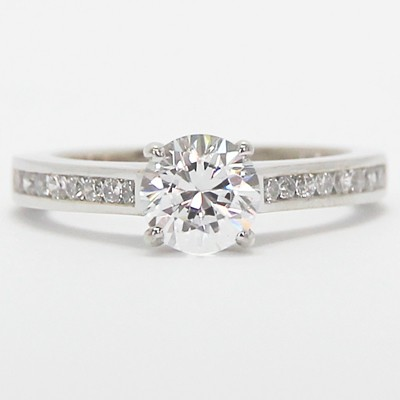 Contemporary Channel Set Diamond Ring 14k White Gold