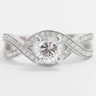 Criss Cross Diamond Engagement Ring 14k White Gold