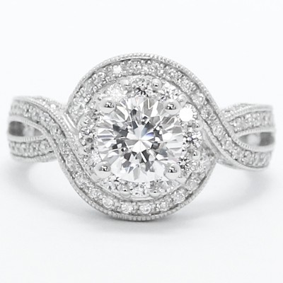 Criss Cross Halo Style Diamond Engagement Ring 14k White Gold