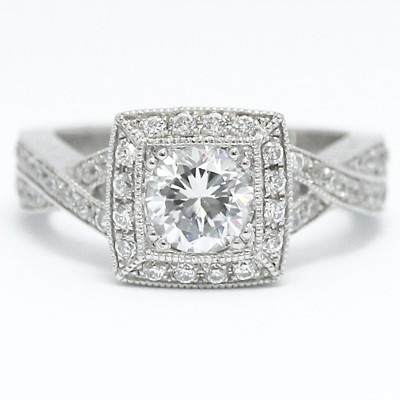 Cross Band Designed Halo Diamond Engagement Ring 14k White Gold