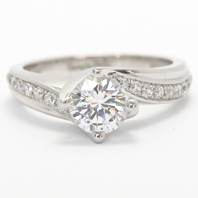 Curved Diamond Engagement Ring 14k White Gold