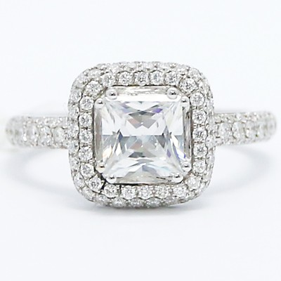 Cushion Shaped Halo for Princess Cut Diamond 18k White Gold