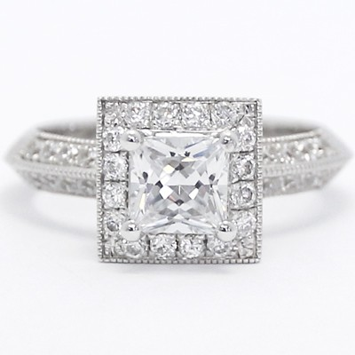 Deco Princess Cut Halo Diamond Engagement Ring 14k White Gold