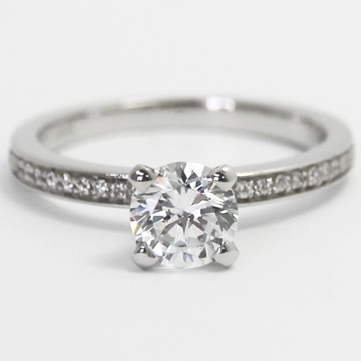 Deco Style Bead Set Engagement Ring 14k White Gold