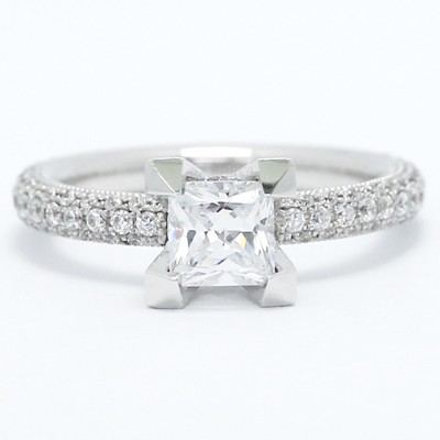 Design Pave Set Diamond Engagement Ring 14k White Gold