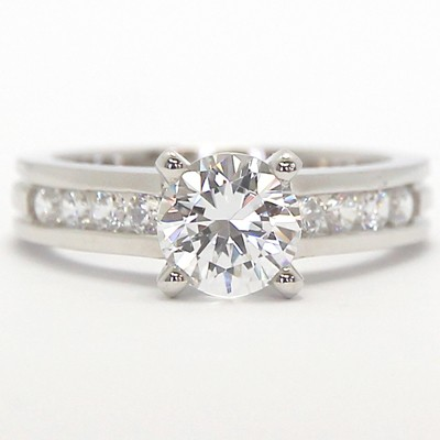 Designed Band Diamond Engagement Ring 14k White Gold